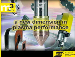Esab's new m3Plasma torch supports straight and bevel cutting as well as all current marking devices.